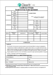 Israel-U.S. Free TRade Certificate